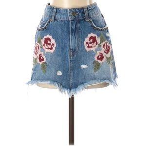 Free People Embroidered Denim Skirt